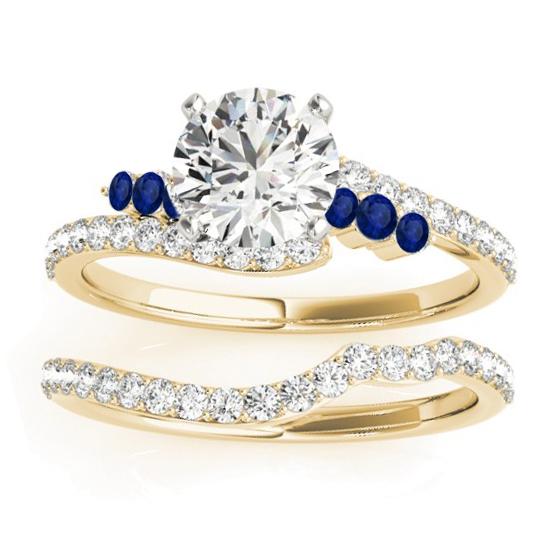 Diamond & Blue Sapphire Bypass Bridal Set 14k Yellow Gold (0.74ct)