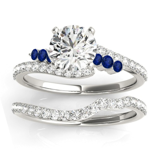 Diamond & Blue Sapphire Bypass Bridal Set Palladium (0.74ct)