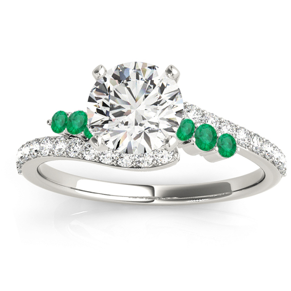 Diamond & Emerald Bypass Engagement Ring 14k White Gold (0.45ct)