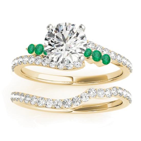Diamond & Emerald Bypass Bridal Set 14k Yellow Gold (0.74ct)
