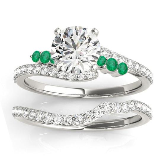 Diamond & Emerald Bypass Bridal Set Platinum (0.74ct)