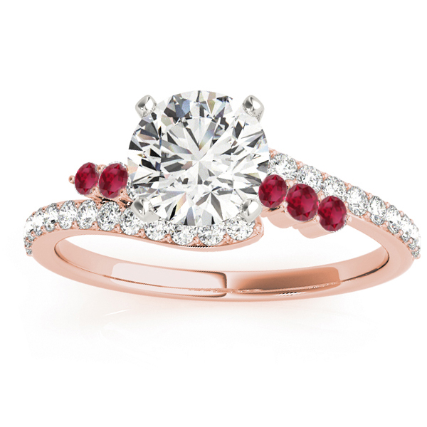 Diamond & Ruby Bypass Engagement Ring 14k Rose Gold (0.45ct)