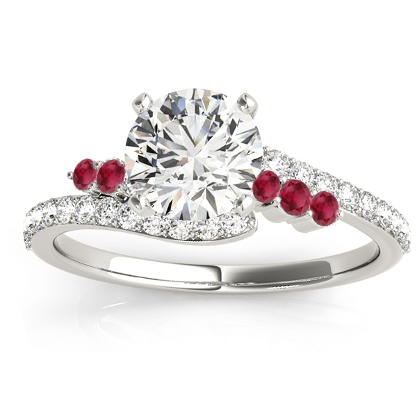 Diamond & Ruby Bypass Engagement Ring 18k White Gold (0.45ct)