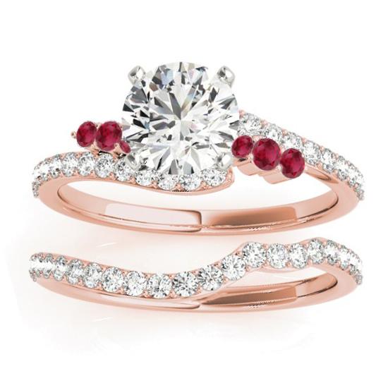Diamond & Ruby Bypass Bridal Set 14k Rose Gold (0.74ct)