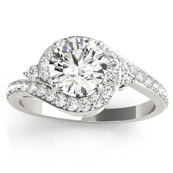 Diamond Halo Swirl Engagement Ring Setting Platinum (0.48ct)