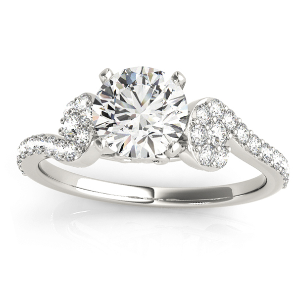 Diamond Single Row Curved Engagement Ring 14k White Gold (0.39 ct)