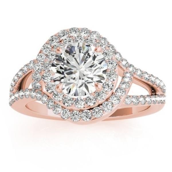 Diamond Engagement Ring Setting & Wedding Band 14k Rose Gold (1.06ct)