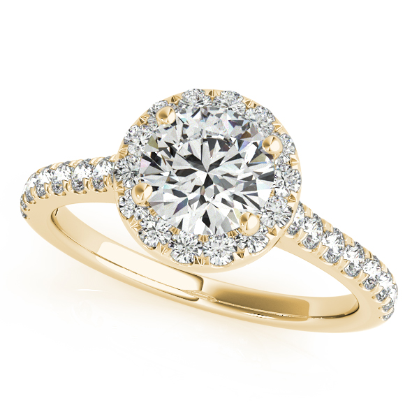 Round Diamond Halo Engagement Ring 14k Yellow Gold (1.33ct)