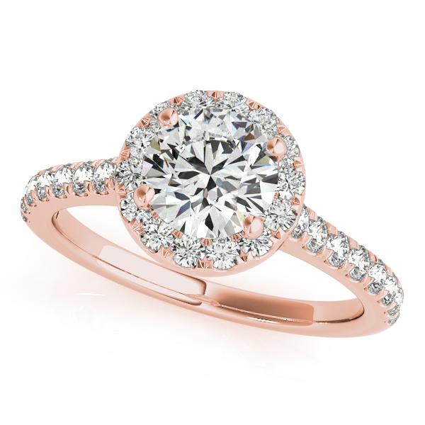 Round Diamond Halo Engagement Ring 18k Rose Gold (1.33ct)