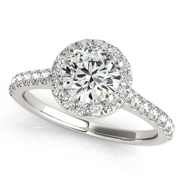 Round Diamond Halo Engagement Ring Platinum (1.33ct)