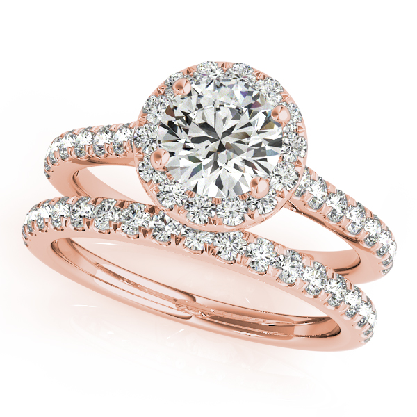 Round Diamond Halo Bridal Ring Set 14k Rose Gold (1.57ct)
