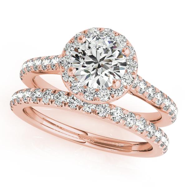 Round Diamond Halo Bridal Ring Set 18k Rose Gold (1.57ct)