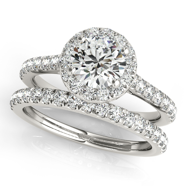 Round Diamond Halo Bridal Ring Set Platinum (1.57ct)