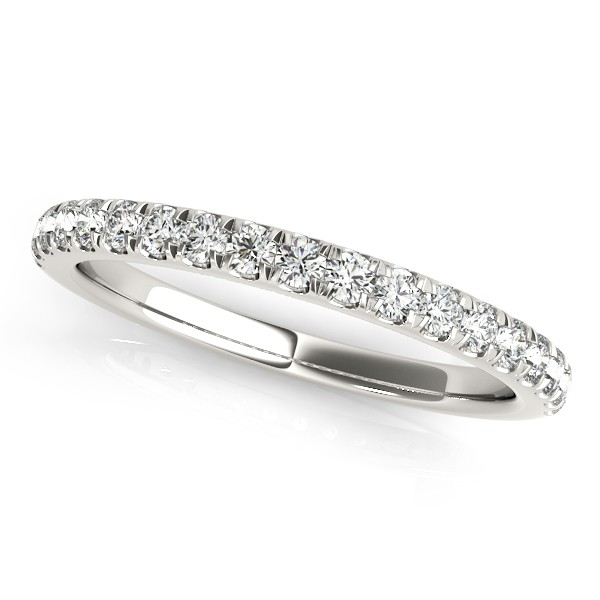 Diamond Curved Prong Wedding Band 14k White Gold (0.24ct)