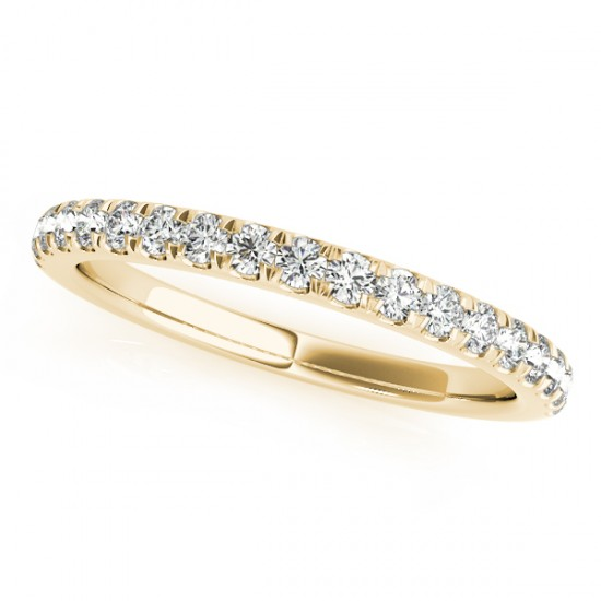 Diamond Curved Prong Wedding Band 18k Yellow Gold (0.24ct)