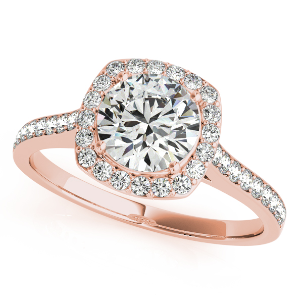 Diamond Accented Round Cut Halo Bridal Set in 14k Rose Gold (1.53ct)