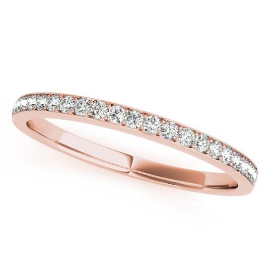 Semi Eternity Pave Diamond Wedding Band in 14k Rose Gold (0.20ct)