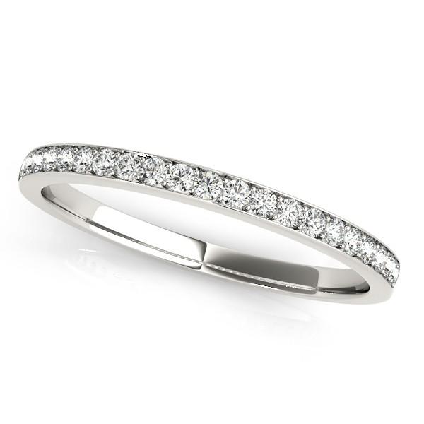 Semi Eternity Pave Diamond Wedding Band in 14k White Gold (0.20ct)
