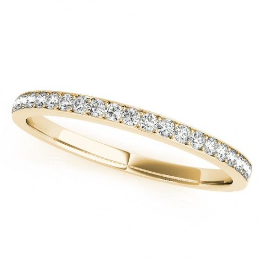 Semi Eternity Pave Diamond Wedding Band in 14k Yellow Gold (0.20ct)