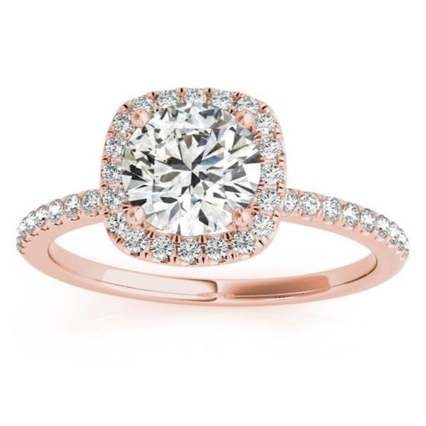 Square Halo Lab Grown Diamond Engagement Ring Setting 18k Rose Gold (0.20ct)