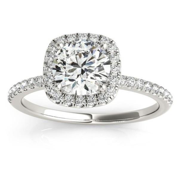 Square Halo Lab Grown Diamond Engagement Ring Setting Platinum (0.20ct)