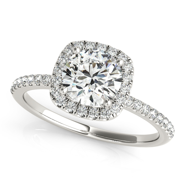 Square Halo Round Diamond Engagement Ring 14k White Gold 1 50ct