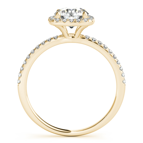 Square Halo Round Diamond Engagement Ring 14k Yellow Gold 1.50ct