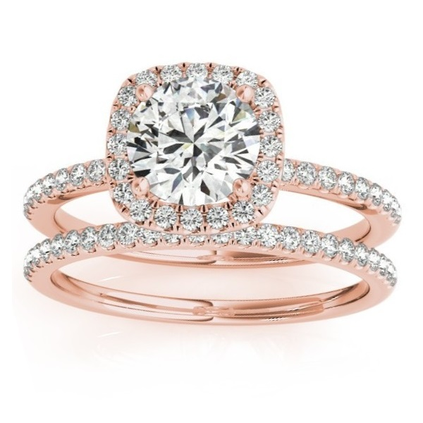 square halo diamond bridal set ring setting band 14k rose gold 035ct - Rose Gold Wedding Ring Set