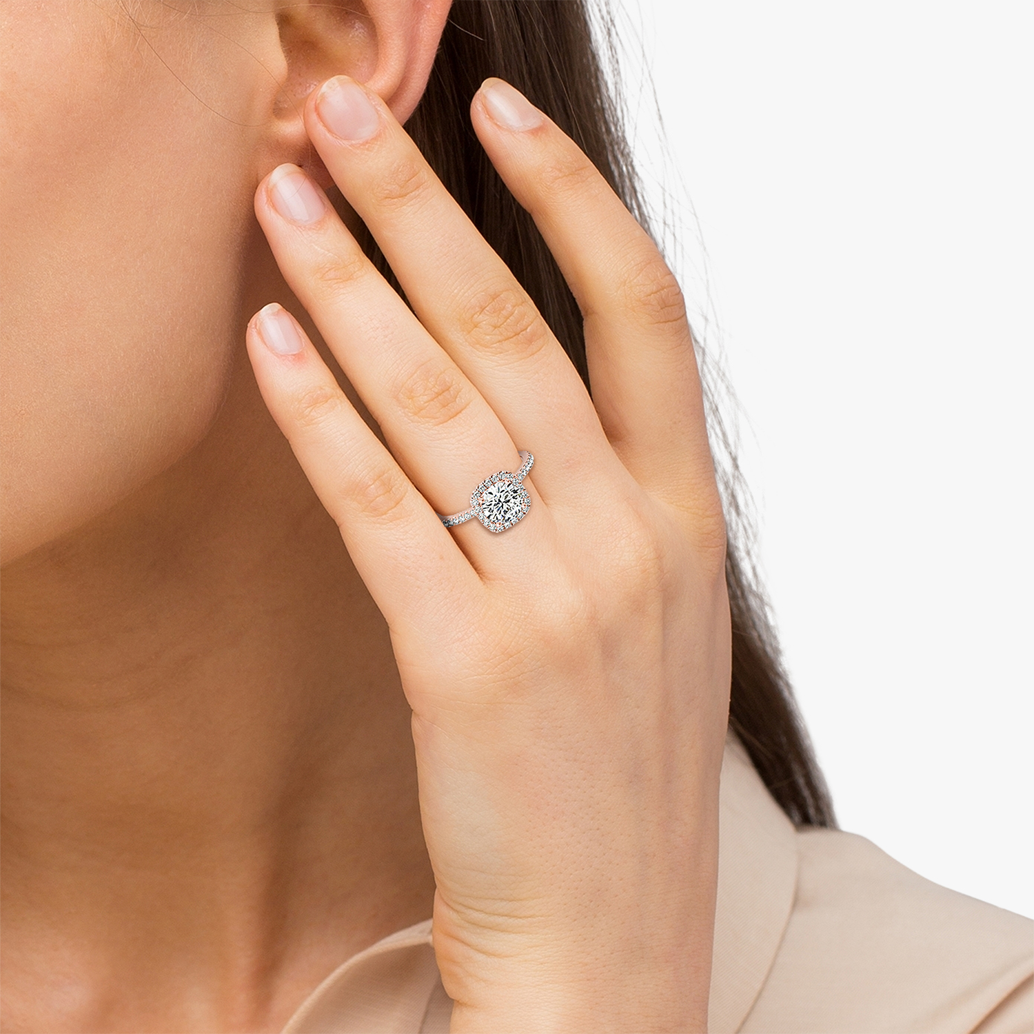 Square Halo Diamond Bridal Set Ring Setting & Band 14k Rose Gold 0 35ct