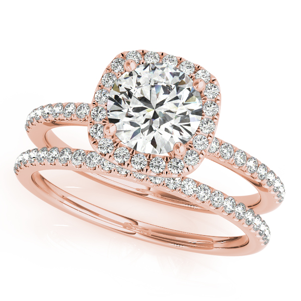 Square Halo Round Diamond Bridal Set Ring & Band 14k Rose