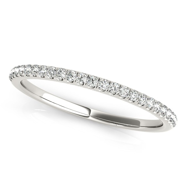 Diamond Accented Semi Eternity Wedding Band in 14k White Gold (0.13ct)