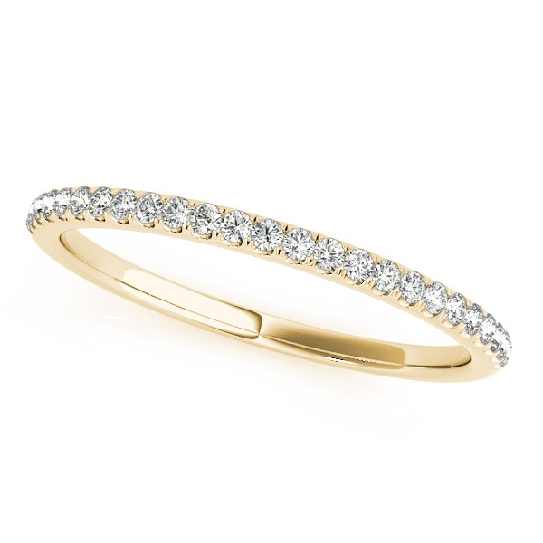 Lab Grown Diamond Accented Semi Eternity Wedding Band in 14k Yellow Gold (0.13ct)