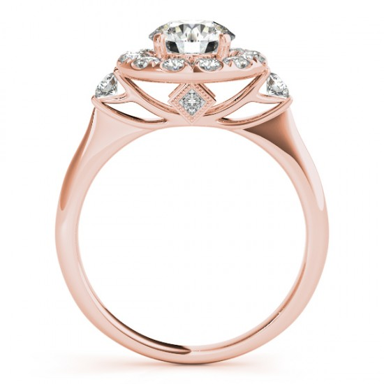 Circle Halo Diamond Accented Engagement Ring 14k Rose Gold (0.50ct)