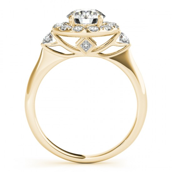 Circle Halo Diamond Accented Engagement Ring 14k Yellow Gold (0.50ct)