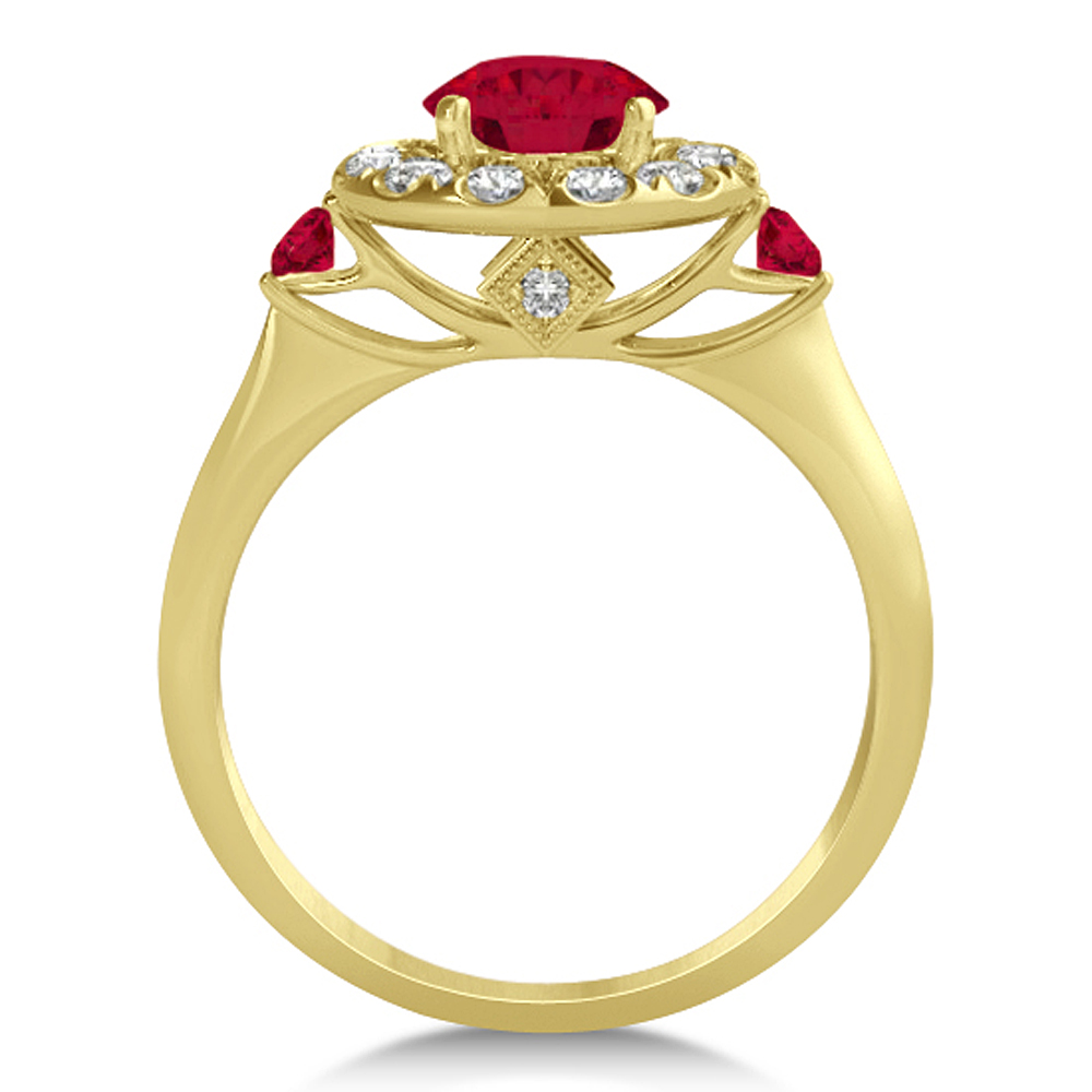 Ruby & Diamond Halo Engagement Ring 14k Yellow Gold (1.50ct)
