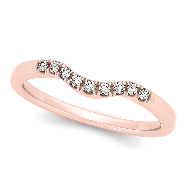 Diamond Semi Eternity Wedding Band in 14k Rose Gold (0.10ct)