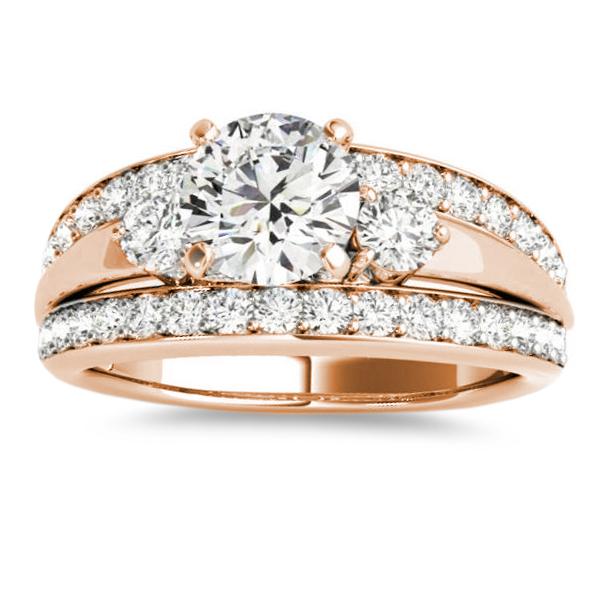 Band Engagement Ring Diamond Side Stones 14K Rose Gold 075ct