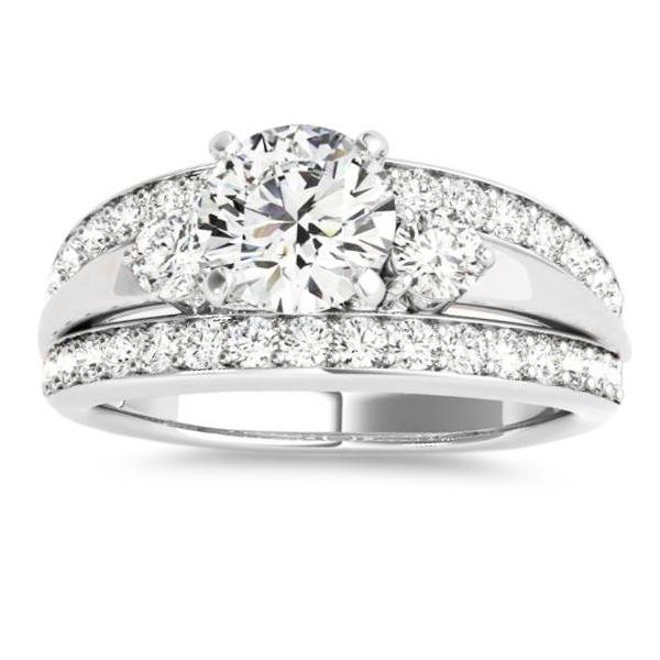 Wide Band Engagement Ring Diamond Side Stones 14k White Gold 0 75ct