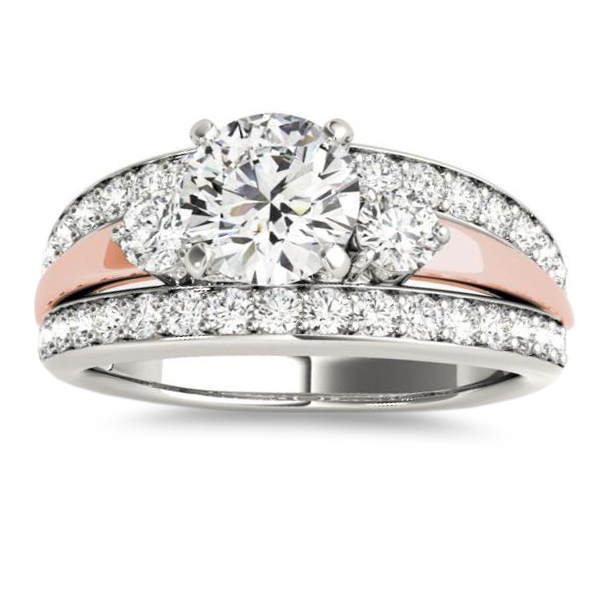 Wide-Band Engagement Ring Diamond Side Stones 14K Two-Tone Gold 0.75ct