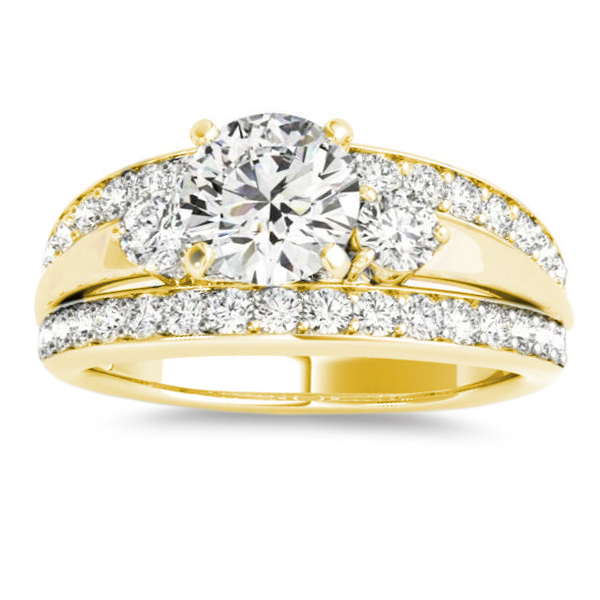 Band Engagement Ring Diamond Side Stones 14K Yellow Gold 075ct
