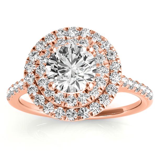 Diamond Double Halo Engagement Ring Setting 14k Rose Gold (0.33ct)