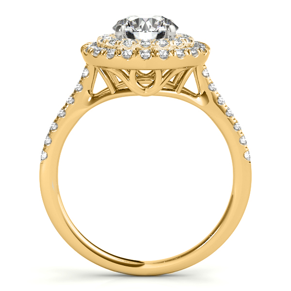 Diamond Double Halo Engagement Ring Setting 18k Yellow Gold (0.33ct)