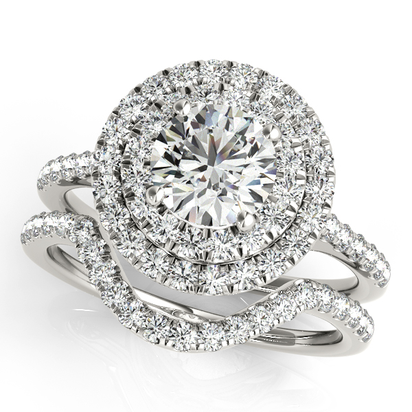 Double Halo Diamond Ring & Band Bridal Set 14k White Gold 1.55ct