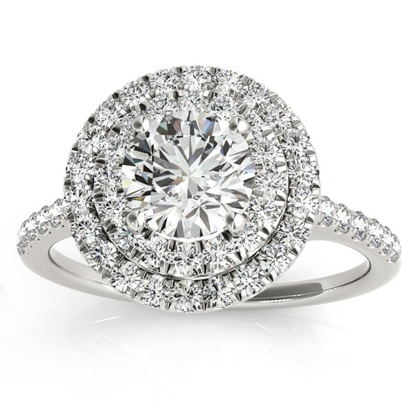 Diamond Double Halo Bridal Set Setting 18k White Gold (0.50ct)