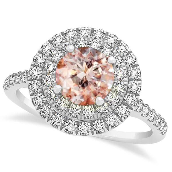 Double Halo Round Morganite Engagement Ring 14k White Gold (1.42ct)