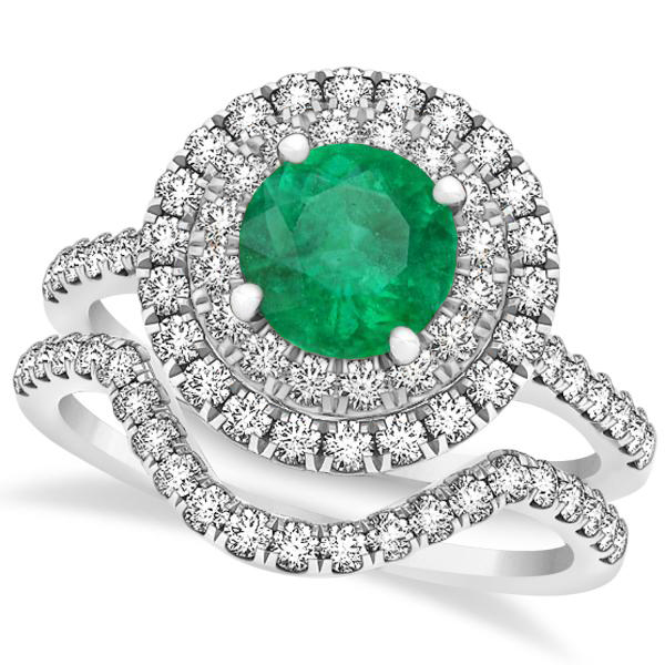 Double Halo Round Emerald Ring & Band Bridal Set 14k White Gold 1.59ct