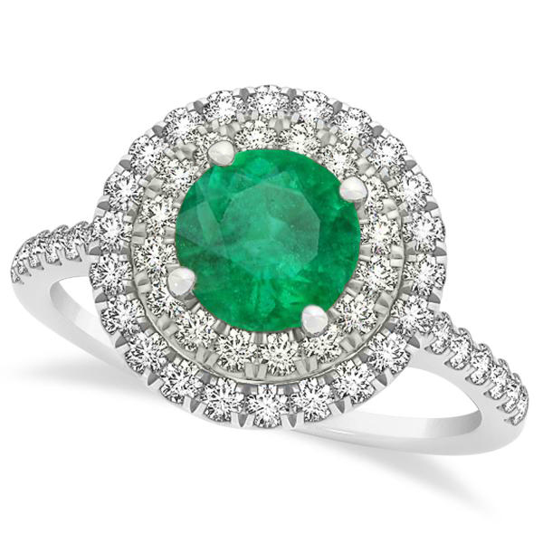 Double Halo Round Emerald Ring & Band Bridal Set 14k White Gold 1.59ct