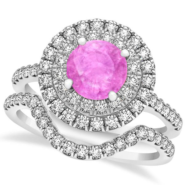 Double Halo Pink Sapphire Ring & Band Bridal Set 14k White Gold 1.59ct