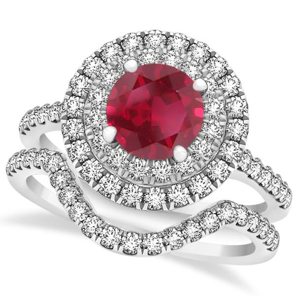 Double Halo Round Ruby Ring & Band Bridal Set 14k White Gold 1.59ct