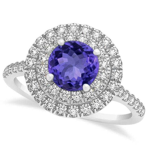 Double Halo Tanzanite Ring & Band Bridal Set 14k White Gold  1.59ct
